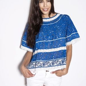 Love Sam Dawn Pintuck Blue Top NWT